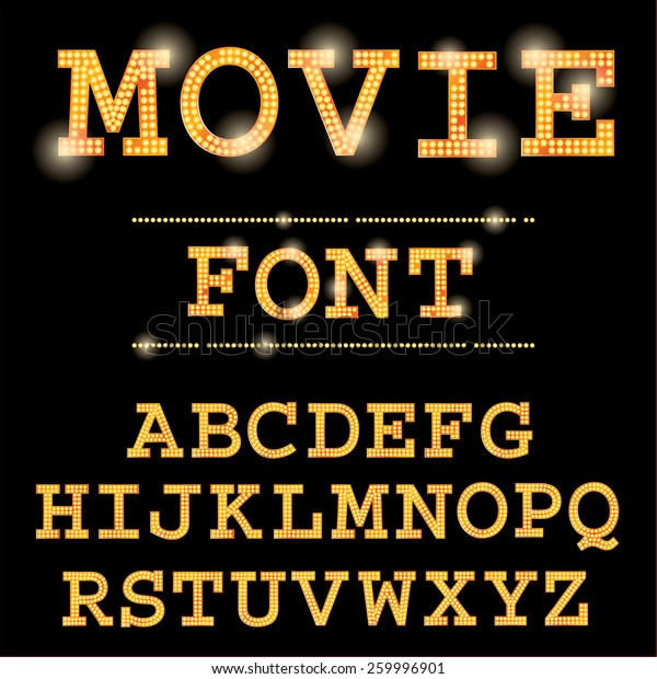 Vector Cinema Font Stock Vector Royalty Free 259996901