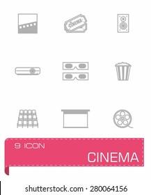 Vector Cinema icon set on grey background