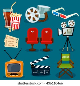 Vector cinema icons in cartoon flat style.Illustration of movie clapper,popcorn,film strip,ticket,camera,chair director. Films  element