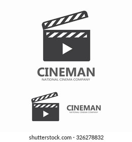 Vector cinema logo. Clapperboard for shooting movies