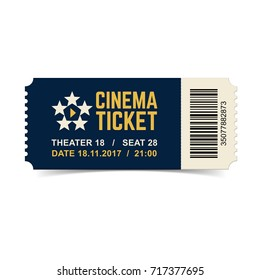Vector cinema ticket isolated on white background.