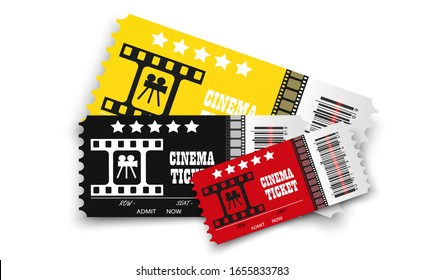 Vector cinema tickets isolated on transparent background. Realistic cinema entrance ticket.