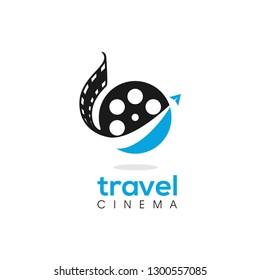 Vector Cinema Travel Filming Adveture Touring World Logo Design Concept Template
