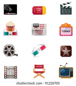 Vector cinema and watching movie icon set