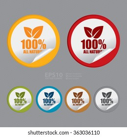Vector : Circle 100% All Natural Product Label, Infographics Flat Icon, Peeling Sticker, Sign