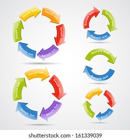 Vector circle 3D arrows set for infographic. Template for diagram, graph, presentation and chart. Business concept with 2, 3, 4, 5 and 6 options, parts, steps or processes. Abstract background.