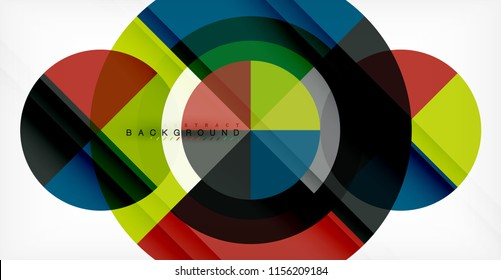 Vector circle abstract background, geometric template