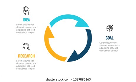 Vector circle arrow elements for infographic template with 3 options, steps, parts and marketing icons. Can be used for cycle diagram, graph, poster, presentations.