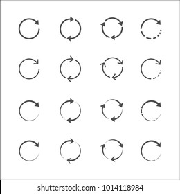 Vector circle arrow icons grey on white background