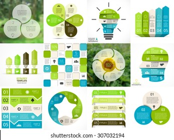 Vector circle arrows green eco infographics set. Ecology diagram, graph, presentation, chart. Organic nature concept with 3, 4, 5, 6 options, parts, steps. Flower, sunflower, human head, bulb.