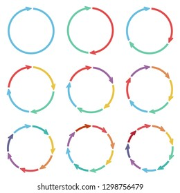 Vector circle arrows for infographic. Business concept with 1, 2, 3, 4, 5, 6, 7, 8, 9 options, parts, steps or processes