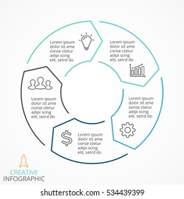 Vector circle arrows infographic, cycle diagram, linear graph, presentation chart. Business info graphic concept with 5 options, part, step, process. Arrow sign. Creative symbol. Text and icons inside