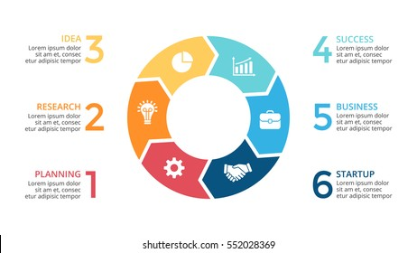 Vector circle arrows infographic, cycle diagram, graph, presentation chart. Business concept with 6 round options, circular parts, equal steps, processes. 16x9 slide. Creative infographics