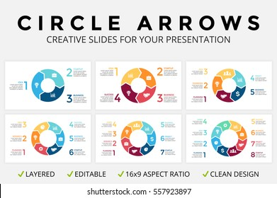 Vector circle arrows infographic, cycle diagram or graph, 16x9 slide presentation, pie chart. Business infographics template with 3, 4, 5, 6, 7, 8 options, parts, step, processes. Clean flat simple.