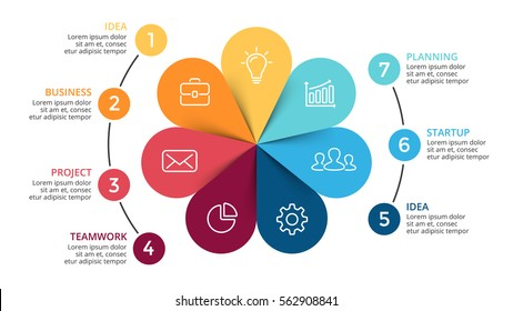 Vector circle arrows infographic, cycle diagram, color flower graph, presentation chart. Business infographics with 7 options, parts, steps, processes. 16x9 slide template.