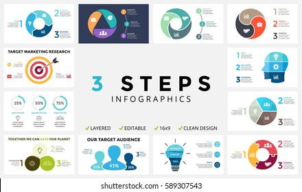 Vector circle arrows infographic, cycle diagram, graph, presentation chart. Business concept with 3 options, parts, step, process. Target marketing infographics, light bulb, human head brain, percents