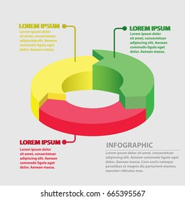 Vector circle arrows infographic, cycle diagram, graph, presentation chart. Business concept with 3 round options, circular parts, equal steps, processes.