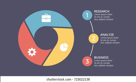 Vector circle arrows infographic, cycle diagram, graph, presentation chart. Business infographics concept with 3 options, parts, steps, processes. 16x9 dark slide template.