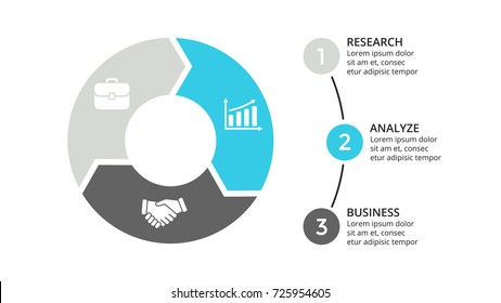 Vector circle arrows infographic, cycle diagram, graph, presentation chart. Business infographics concept with 3 options, parts, steps, processes.