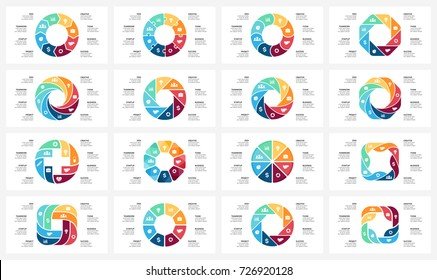 Vector circle arrows infographic, cycle diagram, graph, presentation chart. Business infographics concept with 8 options, parts, steps, processes. 16x9 slide templates bundle.