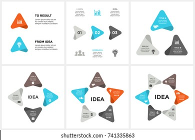 Vector circle arrows infographic, cycle diagram, timeline graph, presentation chart. Business infographics concept with 2, 3, 4, 5, 6 options, parts, steps, processes. From idea to result.