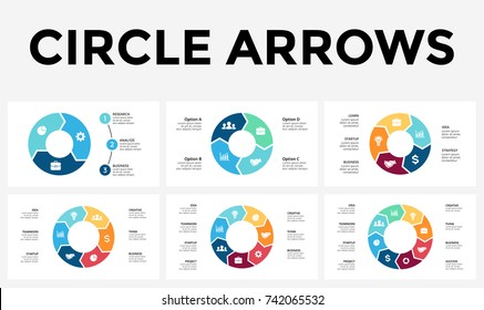 Vector circle arrows infographic, cycle diagram, graph, slide presentation chart. Business infographics concept with 3, 4, 5, 6, 7, 8 options, parts, steps, processes.