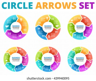 Vector circle arrows infographic, diagram, graph, presentation, chart. Business cycle concept with 3, 4, 5, 6, 7, 8 options, parts, steps, processes. Infographics data flat template.