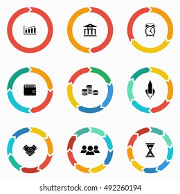 Vector circle arrows for infographic and startup business icon. Template for diagram, graph, presentation and chart. Business concept  with  1,2,3, 4, 5, 6, 7, 8,9  options, parts, steps or processes