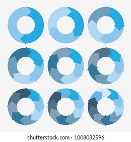 vector circle arrows for infographic template, pie charts blue with 2, 3, 4, 5, 6, 7, 8, 9, 10 steps
