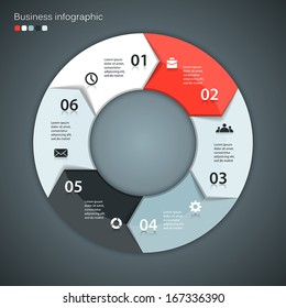 Vector circle arrows for infographic. Template for diagram, graph, presentation and chart. Business concept with six options, parts, steps or processes. Abstract background.