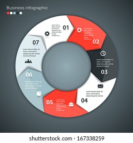 Vector circle arrows for infographic. Template for diagram, graph, presentation and chart. Business concept with seven options, parts, steps or processes. Abstract background.