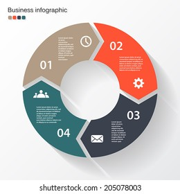Vector circle arrows for infographic. Template for diagram, graph, presentation and chart. Business concept with four options, parts, steps or processes. Abstract background.