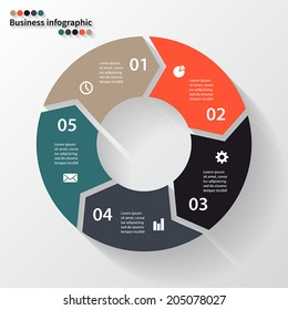 Vector circle arrows for infographic. Template for diagram, graph, presentation and chart. Business concept with five options, parts, steps or processes. Abstract background.