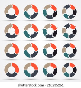 Vector circle arrows for infographic. Template for diagram, graph, presentation and chart. Business concept with three, four, five and six options, parts, steps or processes.