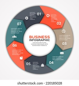Vector circle arrows infographic. Template for diagram, graph, presentation and chart. Business concept with 7 options, parts, steps or processes. Abstract background.
