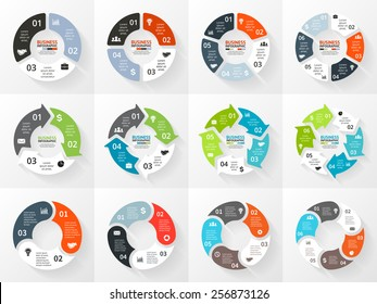 Vector circle arrows infographic. Template for cycle diagram, graph, presentation and round chart. Business concept with 3, 4, 5, 6 options, parts, steps or processes. Abstract background.