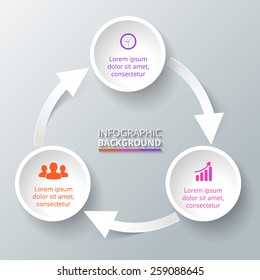 Vector circle arrows infographic. Template for diagram, graph, presentation and chart. Business concept with three options, parts, steps or processes.
