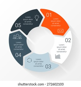 Vector circle arrows infographic. Template for cycle diagram, graph, presentation and round chart. Business concept with 7 equal options, parts, steps or processes. Startup layout for your project.