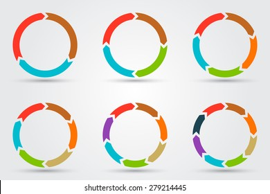 Vector circle arrows for infographic. Template for diagram, graph, presentation and chart. Business concept with 3, 4, 5, 6, 7, 8 options, parts, steps or processes