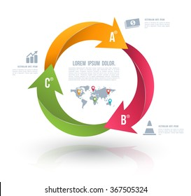 Vector circle arrows for infographic. Template for diagram, graph, presentation and chart. Business concept with 3 options