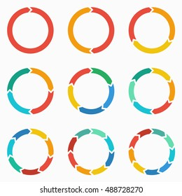 Vector circle arrows for infographic. Template for diagram, graph, presentation and chart. Business concept  with  1,2,3, 4, 5, 6, 7, 8,9  options, parts, steps or processes