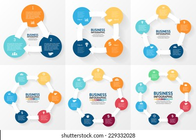 Vector circle arrows infographics set. Template for diagram, graph, presentation and chart. Business concept with 3, 4, 5, 6, 7, 8 options, parts, steps or processes. Abstract background.