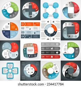 Vector circle arrows infographics set. Template for circle diagram, graph, presentation and chart. Business concept with 4 options, parts, steps or processes. Abstract background.