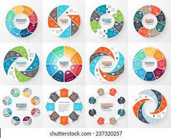 Vector circle arrows infographics set. Template for diagram, graph, presentation and chart. Business concept with 8 options, parts, steps or processes. Abstract background.