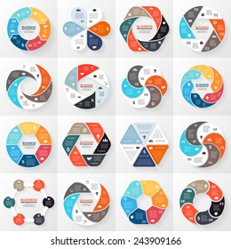 Vector circle arrows infographics set. Template for diagram, graph, presentation and chart. Business concept with 6 options, parts, steps or processes. Abstract background.