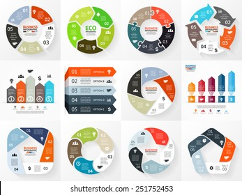 Vector circle arrows infographics set. Template for cycle diagram, graph, presentation and round chart. Business concept with 5 options, parts, steps or processes. Abstract background.