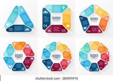 Vector circle arrows infographics set. Template for cycle diagram, graph, presentation and round chart. Business concept with 3, 4, 5, 6, 7, 8 options, parts, steps or processes. Data visualization.