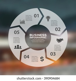 Vector circle arrows linear infographic. Template for cycle diagram, graph, presentation, round chart. Business info graphics concept with 3 options, parts, steps, processes. Blurred background.
