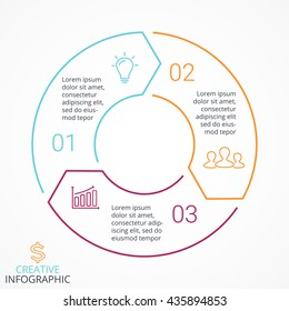 Vector circle arrows linear infographic, diagram, graph, presentation, chart. Business cycle concept with 3 options, parts, steps, processes. Info graphic data template.