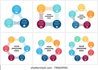 Vector circle arrows metaball infographic, cycle diagram, graph, presentation chart. Business infographics concept with 3, 4, 5, 6, 7, 8 options, parts, steps, processes.